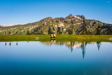 Spiegelsee in Dorfgastein mit Blick auf den Schuhflicker